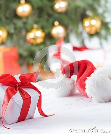 Small, white present and santa hat