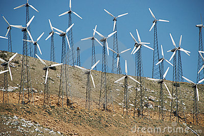 Small Wind Turbines on Hillside