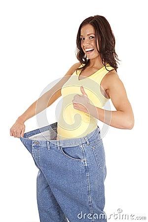Small woman large pants thumbs up