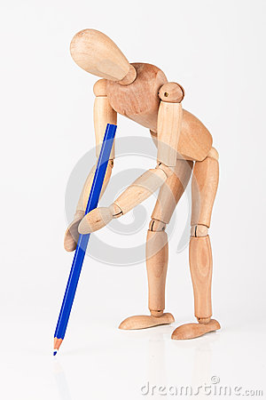 Free Small Wood Mannequin Stand Writing With Colour Pencil Isolated O Stock Photography - 40234902