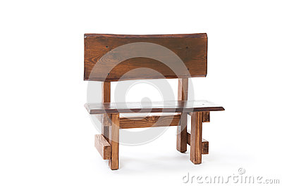 A small wooden bench on a white background