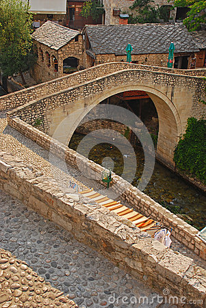 Smaller Mostar Bridge called Kriva Cuprija over Rabobolja Creek