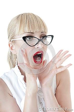 Smart blonde business woman shouting.