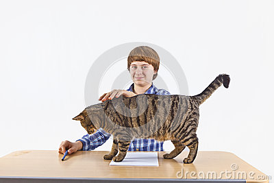Smart boy with his cat