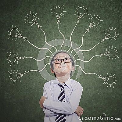 Free Smart Boy Thinking Many Ideas Royalty Free Stock Images - 35871409