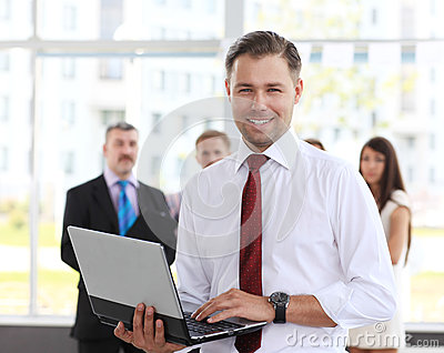 Smart business man using laptop