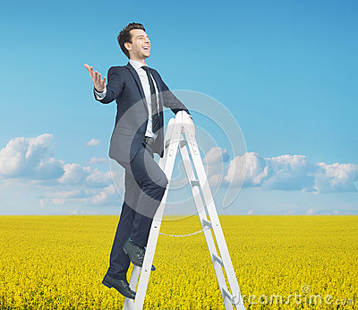 Smart businessman standing on the ladder