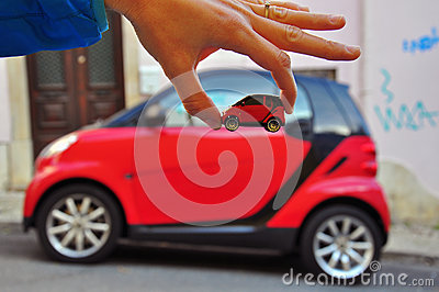 Smart: car and model Editorial Stock Photo