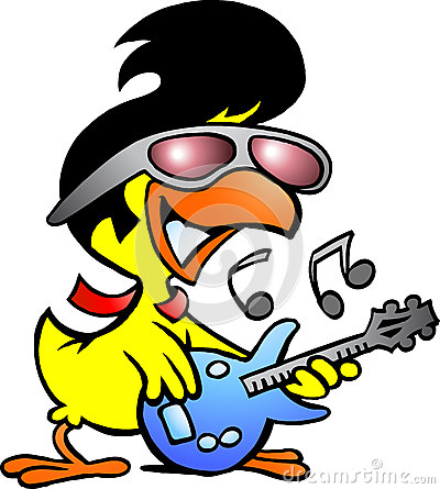 Smart chicken playing on guitar