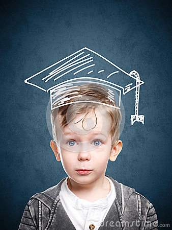 Free Smart Child In A Drawn Student Hat Royalty Free Stock Images - 90464309