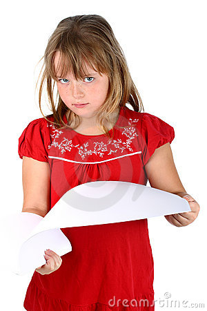 Smart girl going through sheets of paper isolated