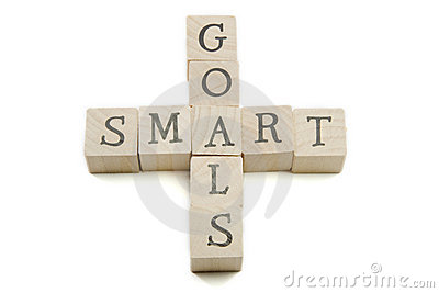 SMART Goals on wooden blocks
