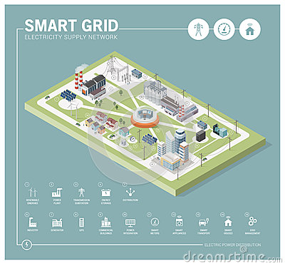 Smart grid and power supply Vector Illustration