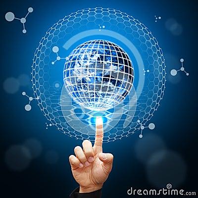 Smart hand point to digital world background