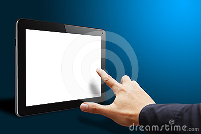 Smart hand touch empty screen tablet