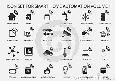 smart home automation icon set in flat design stock vector image 56519096. Black Bedroom Furniture Sets. Home Design Ideas