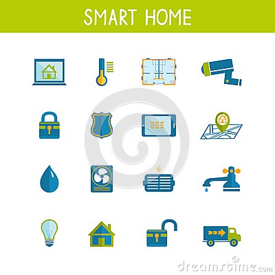 smart home automation technology icons set royalty free stock photography image 38412317. Black Bedroom Furniture Sets. Home Design Ideas