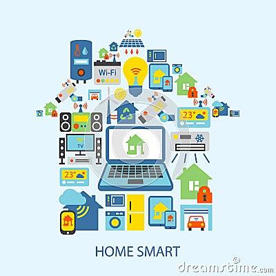 smart home icons set stock vector image 44438154. Black Bedroom Furniture Sets. Home Design Ideas