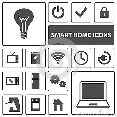 smart home icons set stock vector image 55840390. Black Bedroom Furniture Sets. Home Design Ideas