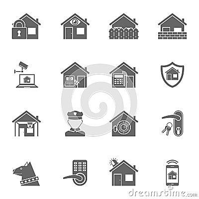 smart home security system black icons set vector. Black Bedroom Furniture Sets. Home Design Ideas
