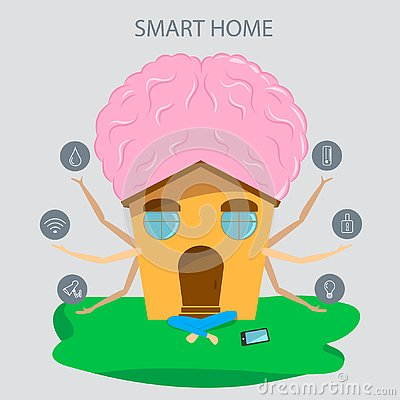 Smart home with big mind in flat style. Technology icons and design elements. Vector Illustration