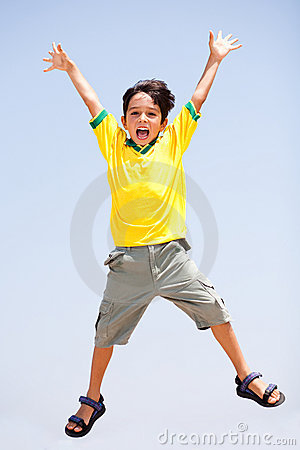 Free Smart Kid Jumping High In Air Stock Photography - 15822672