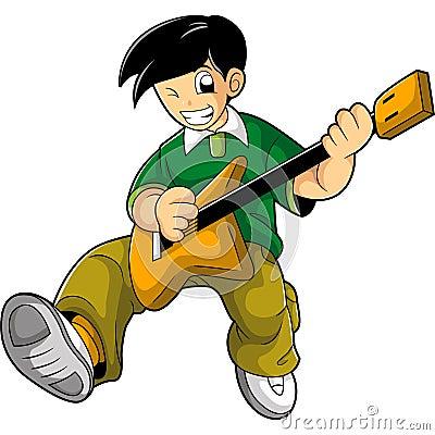 Smart kid play guitar