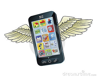 Smart mobile phone flying with wings