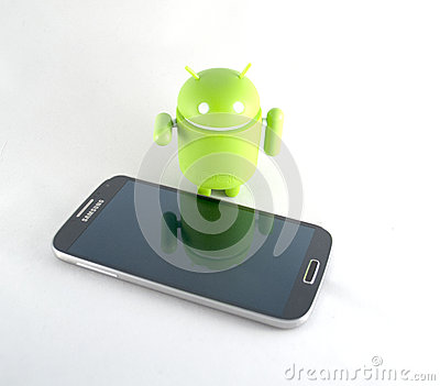 Smart phone and android Editorial Stock Image