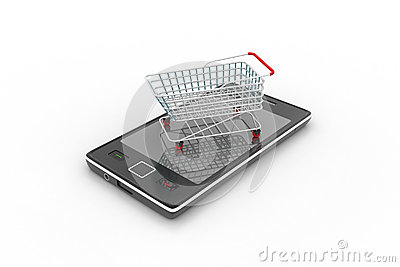 Smart phone carrying the shopping trolley