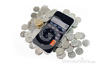 Smart phone with coins on isolate