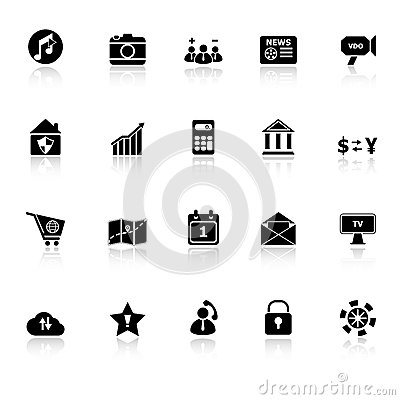 Smart phone icons with reflect on white background