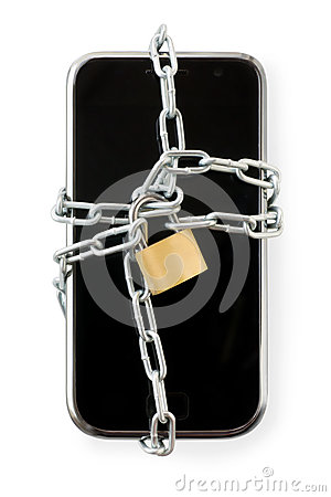 Free Smart Phone In Chain With Lock. Isolated On White With Clipping Stock Image - 93932721
