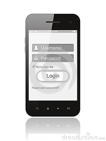 Smart phone with login box