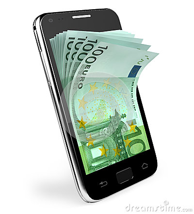Smart phone with money concept. Euro.