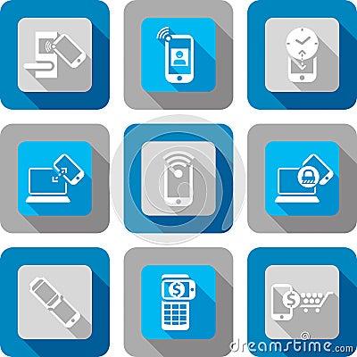 Free Smart Phone NFC Communication Icon Design Set Royalty Free Stock Photo - 34013705