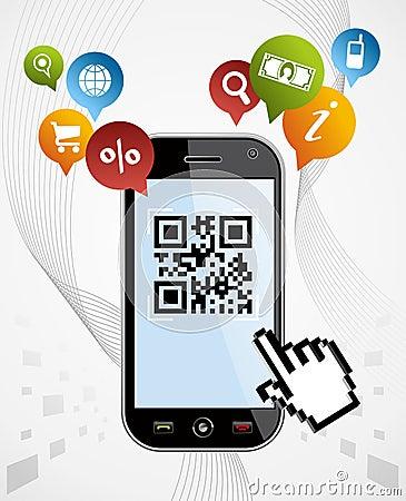 Free Smart Phone: QR Code App Vector Illustration Royalty Free Stock Photos - 23815688