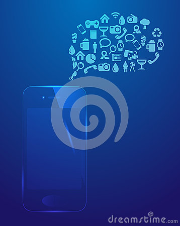 Smart phone, social media icons