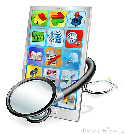 Smart phone or tablet pc health check concept