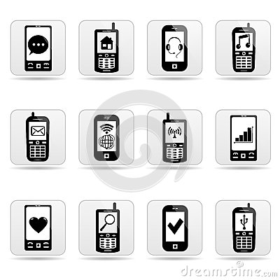 Smart-phone web buttons with signs on screens.