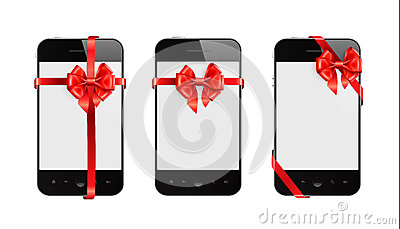 Smart Phones with red ribbons