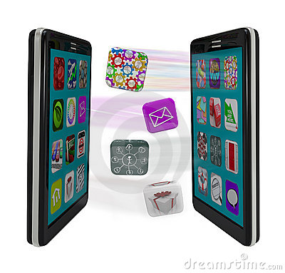 Smart Phones Sharing App Software Syncing Messages