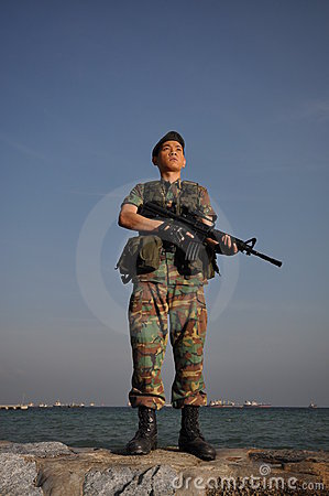 Free Smart Soldier Defending The Country Royalty Free Stock Image - 10785746