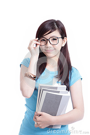 Free Smart Student Girl Holding Book Royalty Free Stock Images - 25154309
