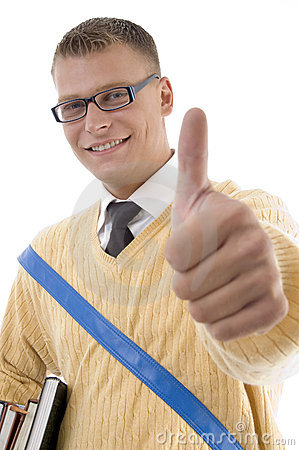 Smart student wearing spectacles with thumbs up