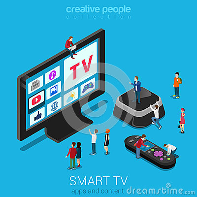 Free Smart TV, Set Top Box And Remote Controller With Micro People Royalty Free Stock Photos - 59049198