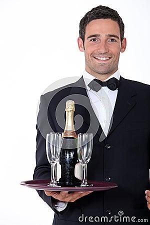 Smart waiter holding tray