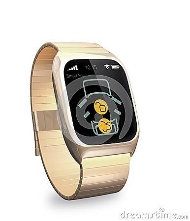 smart watch with app for car door lock and unlock stock illustration image 51403529. Black Bedroom Furniture Sets. Home Design Ideas