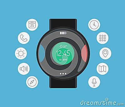 Smart watch design flat illustration concept