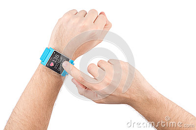 Smart watch with fitness app on male hands